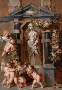 Standbeeld van de godin Ceres in een nis, met putti die groenten- en vruchtenslingers ophangen