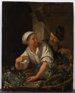 Oude man en vrouw bij een groentenkraam