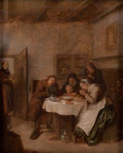 Familie in gebed bij de maaltijd
