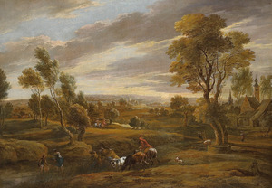 """Uitgestrekt landschap met herders en vee, rechts een landhuis, mogelijk Rubens' buitenhuis """" het Steen"""""""