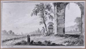 Landschap met figuren bij een grafmonument en boog