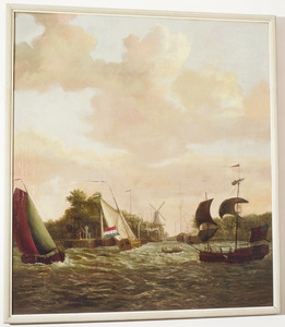 Stormachtig waterlandschap met de haven van Schiedam op de achtergrond