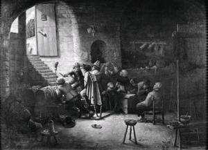 """Interieur van herberg """"'t Wapen van Antwerpen"""" met vechtende en drinkende mannen"""