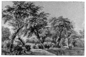 Boslandschap met vijver en vissers
