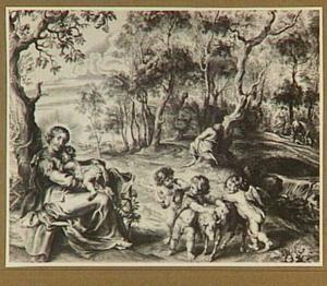 De Heilige familie en putti in een landschap