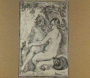 Eva die Adam de appel aanbiedt
