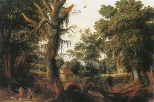 Landschap met figuren op een landweg