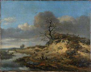 Duinlandschap met een zandweg langs een riviertje