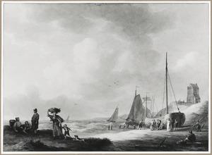 Zeekust met vissersboten op het strand en visverkoop