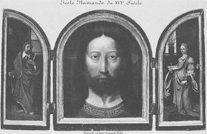Heilige (Paulus?) (links); Christus (midden); H. Catharina (rechts)