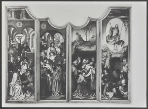 De gevangenneming van Christus (binnenzijde linker bovenluik); De doornenkroning, ecce homo (binnenzijde linkerluik); De aanbidding der herders, de Boom van Jesse, de aanbidding der Wijzen, de kruisdraging, de kruisiging, de bewening (middendeel); De geseling (binnenzijde rechter bovenluik); De graflegging, de opstanding (binnenzijde rechterluik)