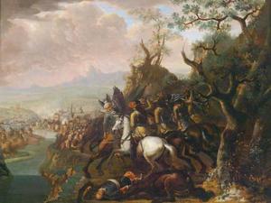 Landschap met gevecht tussen christenen en Turken