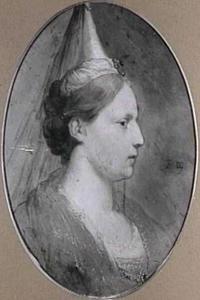 Portretbuste van een vrouw in een historiserend kostuum