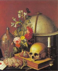 Vanitasstilleven met schedel, globe, gedoofde kaars, bloemen en vruchten