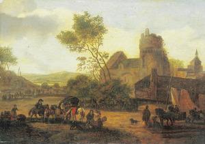 Soldatenscene op een dorpsplein