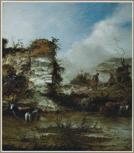 Landschap met herders en runderen bij een ruïne aan een rivier