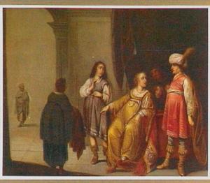 Jozef door Potifars vrouw beschuldigd, met zijn mantel als bewijs (Genesis 39: 17-20)