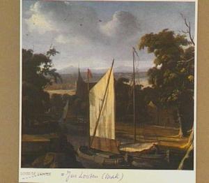 Landschap met aanlegplaats met twee boten