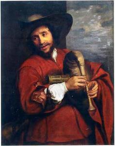Portret van  François Langlois (1588-1647),  gekleed als 'savoyard', spelend op een musette