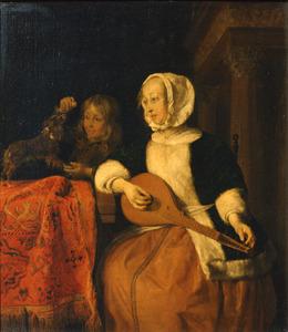 Vrouw die een citer stemt en een met een hond spelende jongen