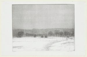 Sneeuwlandschap met proefboerderij