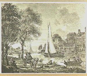 Riviergezicht met zeilboten en vissers in een roeiboot