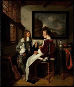 Wijndrinkend elegant paar in een interieur