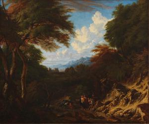Arcadisch boslandschap met figuren