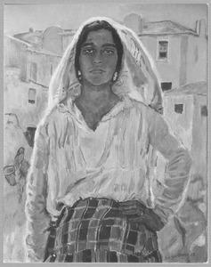 Portugese vrouw in landschap