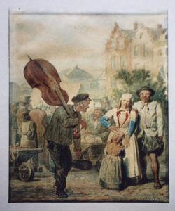 Straattafereel met man met cello