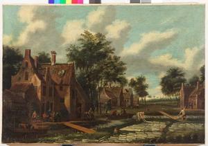 Landschap met bleekvelden bij een dorp