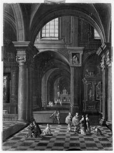 Kerkinterieur wandelaars en een biddende man