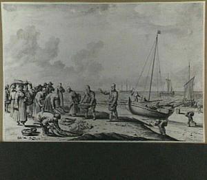 Vissers op een strand