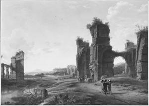 Zuidelijk landschap met enkele wandelaars bij een ruïne
