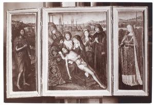 De H. Johannes de Doper (linkerluik), de bewening van Christus (middendeel), de H. Catharina (rechterluik)