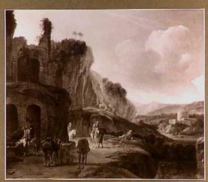 Heuvelachtig landschap met ruïne en rustende reizigers