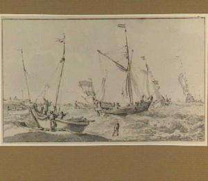 Hollandse schepen voor de kust op woelige zee