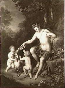 De jonge Bacchus geeft brood aan twee kinderen die spelen met een bok