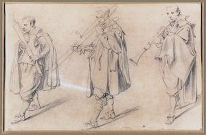 Drie lopende muzikanten met blaasinstrumenten