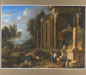 Figuren bij antieke ruïnes in een zuidelijk landschap