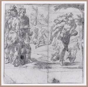 Keizer Conrad II ziet toe hoe de trouwe vrouwen van Weinsberg hun echtgenoten op de rug wegdragen