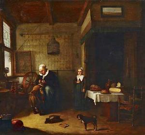 Oude vrouw ontluist een jongen met naast haar een meisje dat toekijkt, rechts een gedekte tafel