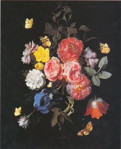 Festoen van bloemen hangend aan een touwtje aan een nagel