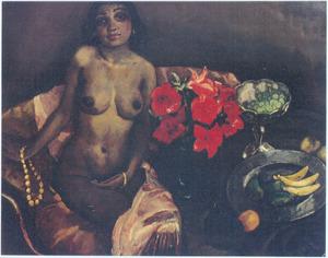 Zittend naakt met bloemen en fruit