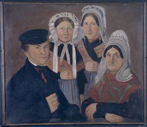 Portret van Albertus Buijs (1812-?), Judoca Verdurmen (1815-?) en hun kinderen