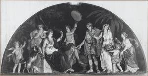 Bovendeurstuk met een allegorische voorstelling: De Waarheid en de Deugd