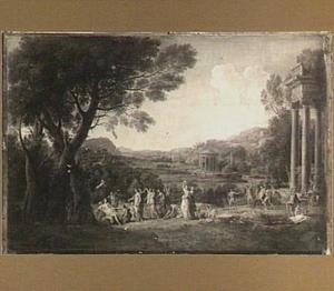Italianiserend landschap met Bacchus en Ariadne (?)