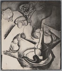 Stilleven met pijp, fles en vaas bloemen