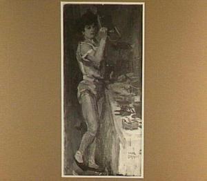 Balletdanseres aan haar toilet