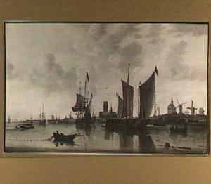 Gezicht op Rotterdam, met de St. Laurenskerk, de Oude Hoofdpoort en het Kruithuis